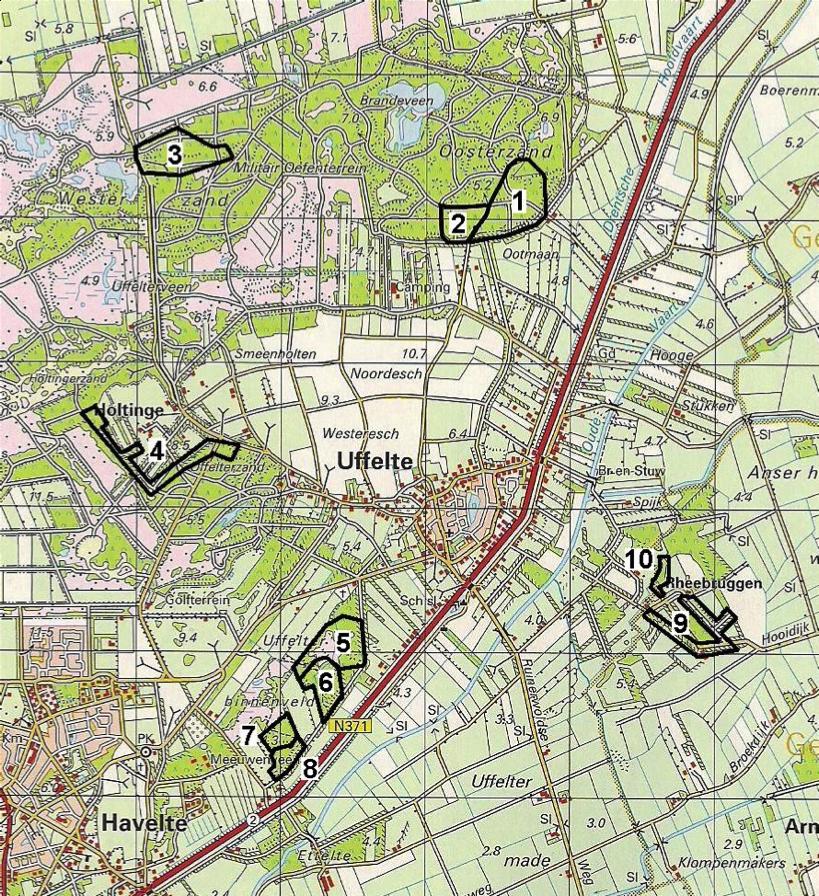 Nestkastroutes van de Vogelwacht Uffelte e.o. (topografische kaart)